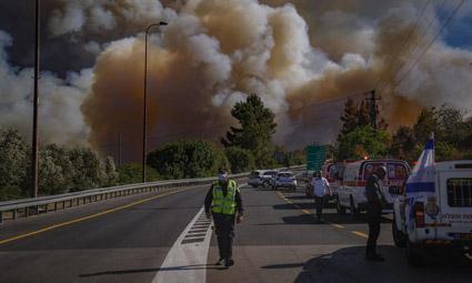Страшный пожар в Иерусалимских горах. Горят жилые дома